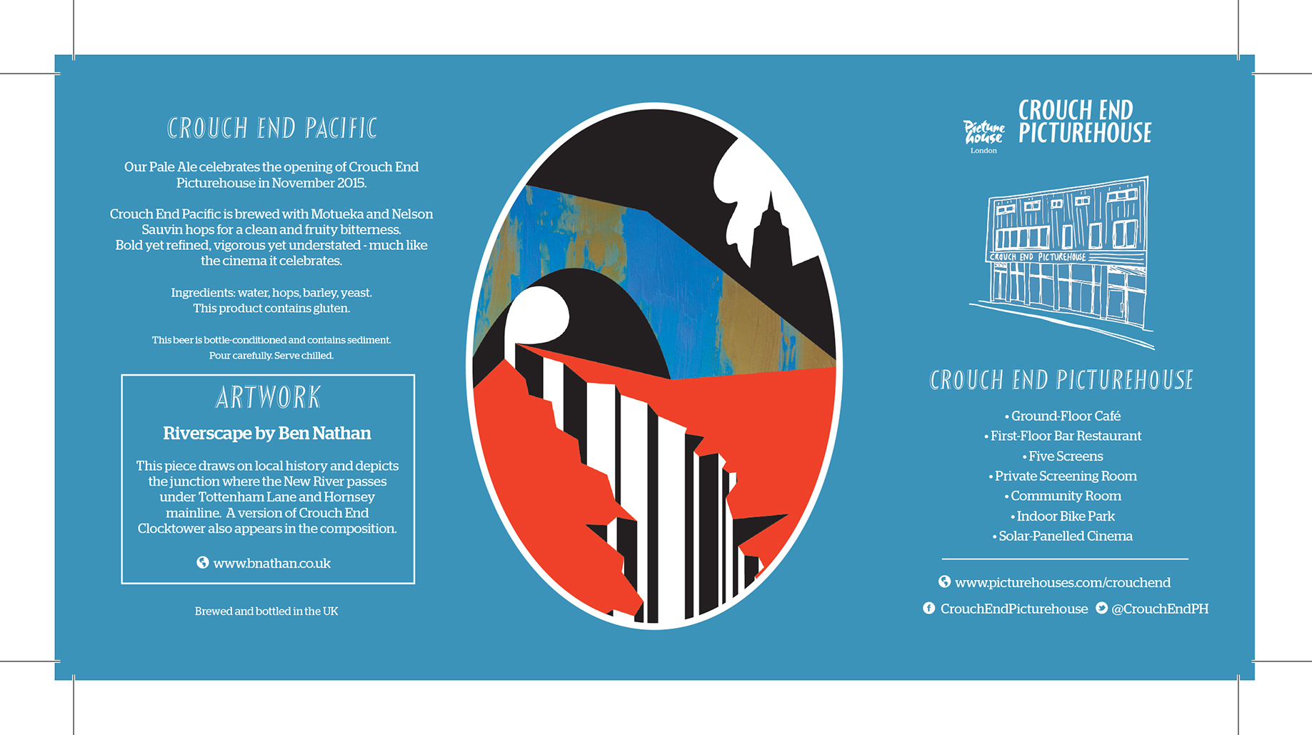 Limited edition IPA. Crouch End Pacific. Bottled for the opening of Crouch End Picturehouse. Art work by Ben Nathan