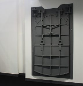 Gate, 2006. Installation at Vision solo show, Rosenblatt Solicitors. Plywood, 11 x 122 x 210 cm. Private collection