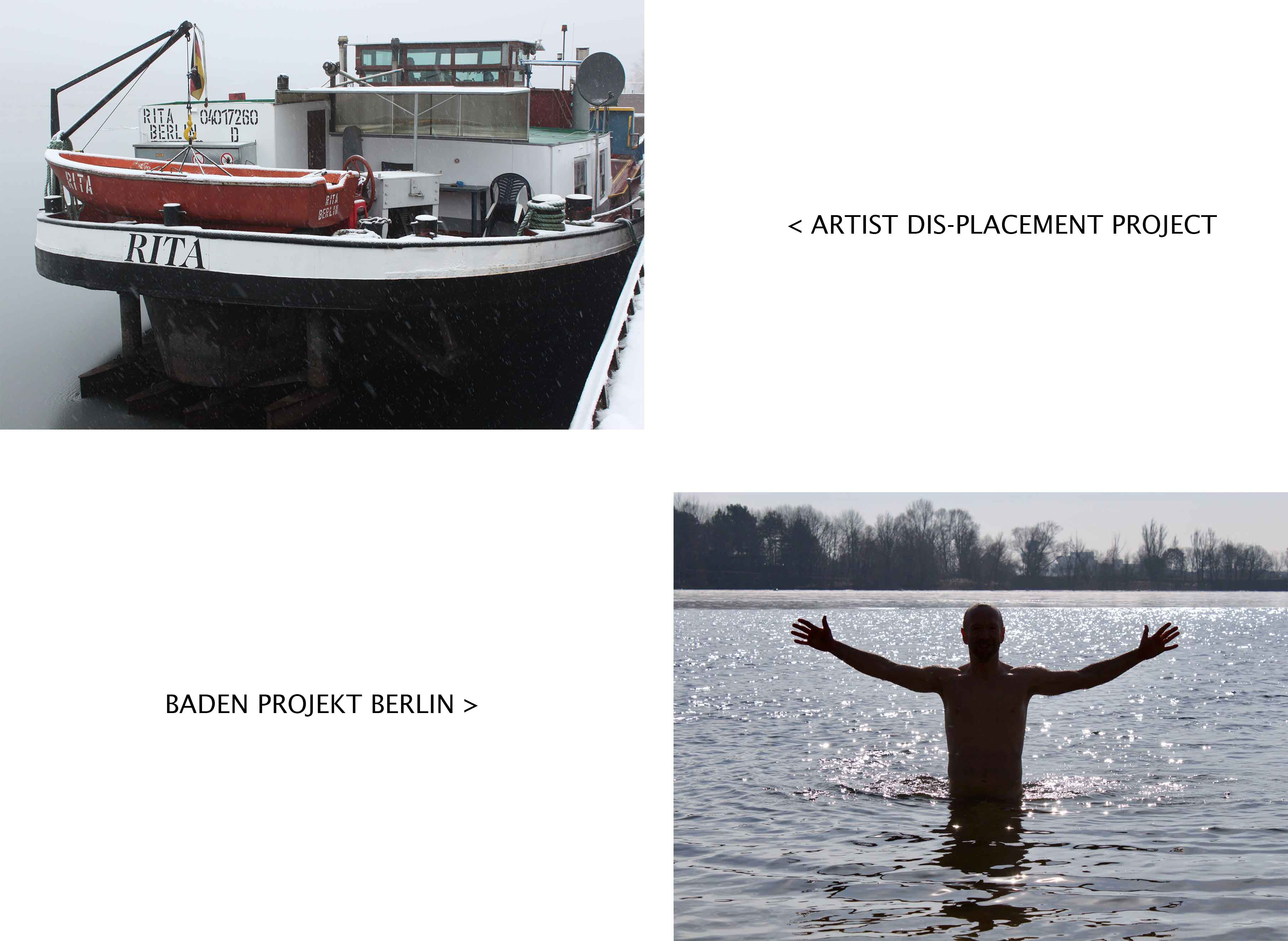 💥💥 FINAL EXHIBITION @ ZK/U, BERLIN 💥💥  22nd March 2018 / 19:00 – 22:30  Baden Projekt Berlin showcases a new work featuring three notorious Flughafensee ice swimmers - a collaboration with Matthew Charles Robinson.  I'll also be screening #Rita1931, my Artist Dis-Placement video adventure aboard a scrap metal ship and at TSR metal recycling.   Warmest wishes,  Ben und Baden Projekt Berlin